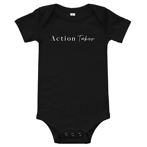 """Action Taker"" Baby short sleeve one piece (dark)"