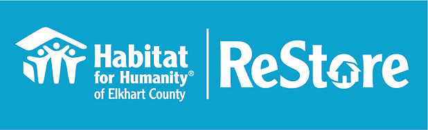 Elkhart County and ReStore white on blue