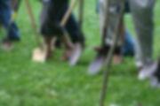 ground breaking shovels and feet.JPG