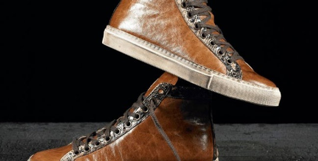 Sneakers in vitello e pitone realizzate a mano su misura in Italia
