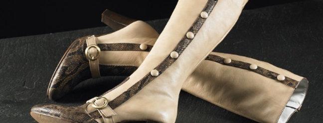 Stivali in vitello e pitone realizzati a mano su misura in Italia