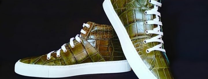 Sneakers in coccodrillo realizzate a mano su misura in Italia