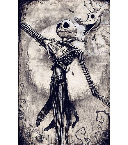 "Skellington, 8x10"" High Quality Giclee art print by Alex Dakos"