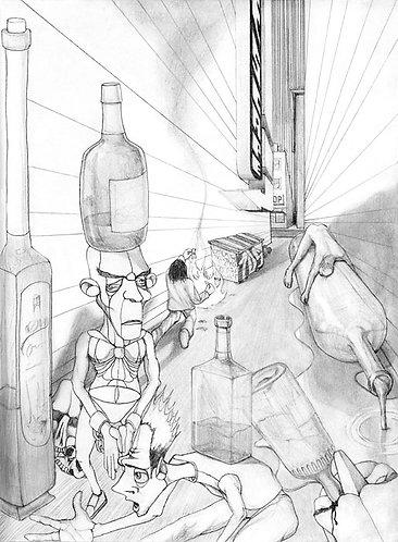 "No Escape, 8x10"" or 11x14"" High Quality Giclee art print by Alex Dakos"