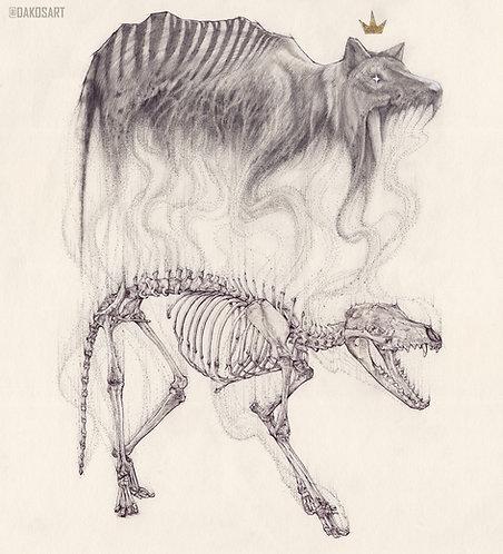 "Thylacine Tasmanian Tiger study, 8x10"" or 11x14"" High Quality Giclee art print"