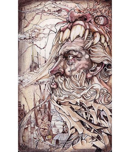 Caído del pensamiento, arte original de Alex Dakos