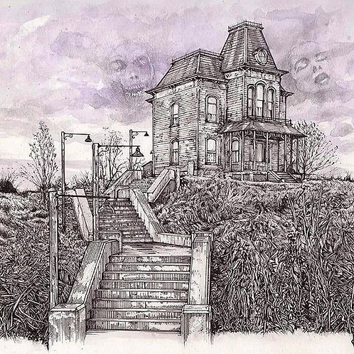 "Bates Motel, 8x10"" or 11x14"" High quality Giclee art print by Alex Dakos"