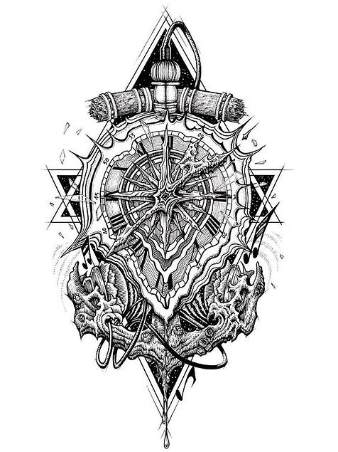 Melting clock/anchor tattoo design