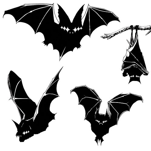 High Quality Digital Download of Graphic Silhouette Shadow Bats by Alex Dakos