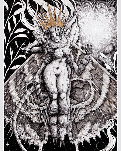 "Moth Girl, 8x10"" or 11x14"" High Quality Giclee art print by Alex Dakos"