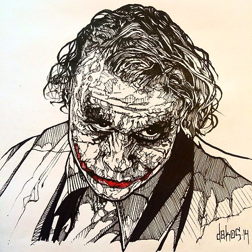 The Joker Tribute, Original Artwork Drawing by Alex Dakos