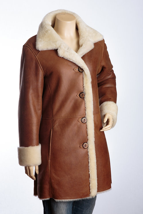 Aspen II Tan and Cream Three Quarter Length Sheepskin Leather Coat