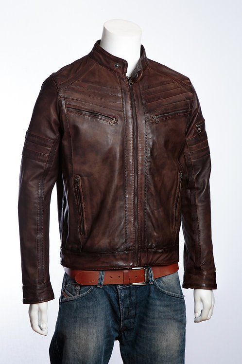 Racer Brown Nappa Mens Leather Jacket