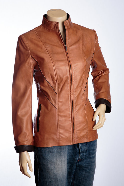 Sophie Tan and Brown Ladies Mid Length Leather Jacket