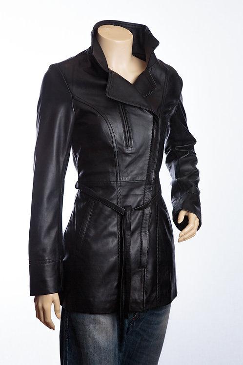 Alicia Ladies Black Leather Three Quater Length Jacket