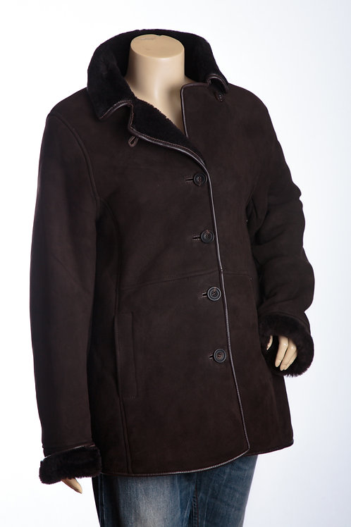 April Ladies Chocolate Brown Three Quarter Shearling Leather Coat