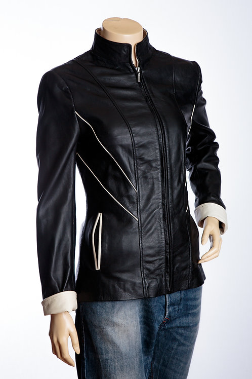 Sophie Black and Cream Ladies Mid Length Leather Jacket