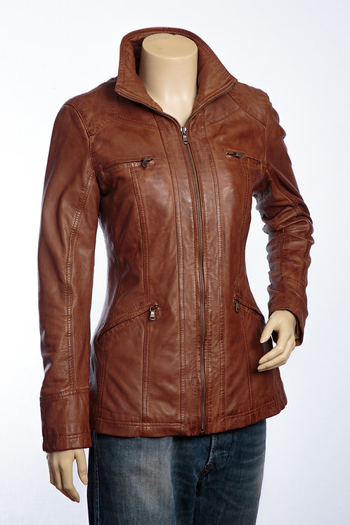 Lexie Ladies Tan Leather Jacket