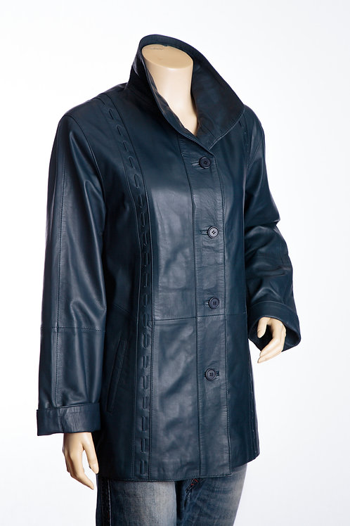 Jenny Ladies Navy Leather Three Quarter Length Coat