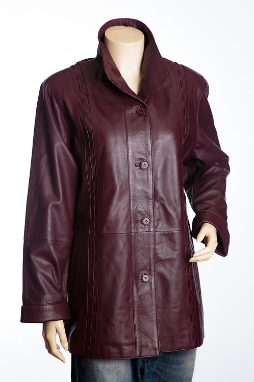 Jenny Ladies Oxblood Leather Three Quarter Length Coat