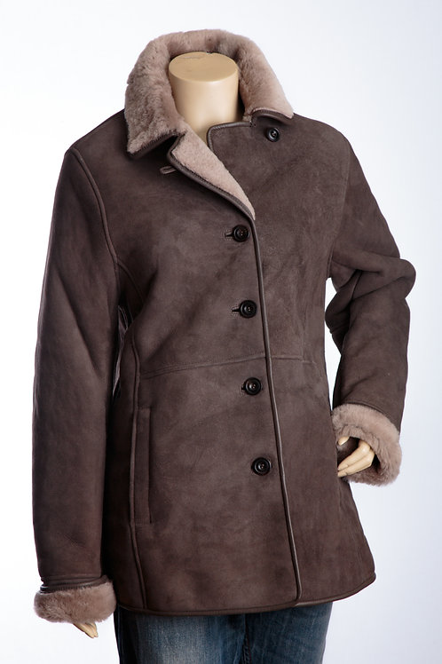 April Ladies Grey Three Quarter Shearling Leather Coat