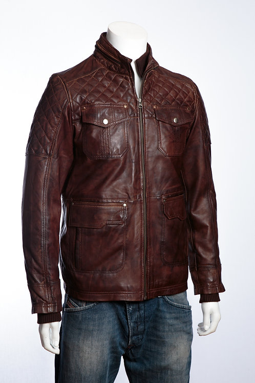 Harley Mens Antique Brown Vintage Mens Leather Racing Jacket