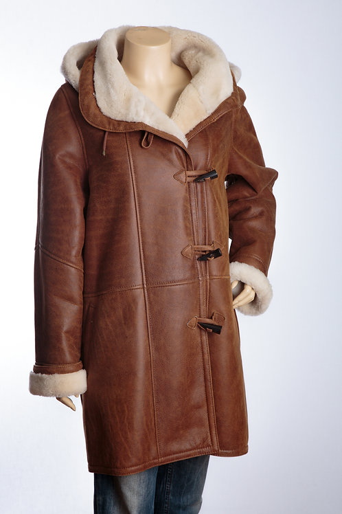 Ladies Tan Lamb Nappa Sheepskin Duffle Jacket