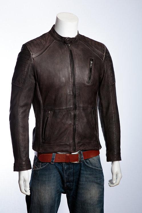 Riga Mens Washed Grey Leather Motorcycle Jacket