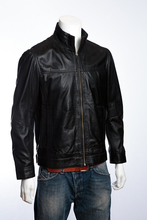 Hugo Mens Classic Black Leather Jacket