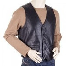 Classic Mens Black Leather Waistcoat