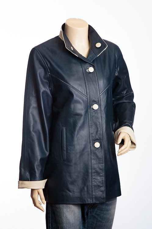 Maggie Ladies Navy and Cream Three Quarter Length Leather Coat
