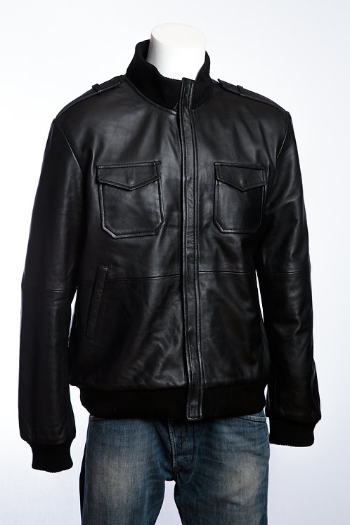 Oslo Mens Classic Black Leather Bomber Jacket
