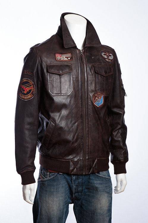 Maverick Mens Leather Bomber Jacket