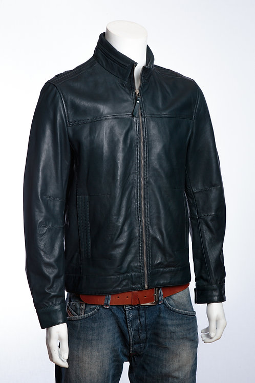 Hugo Mens Classic Navy Leather Jacket