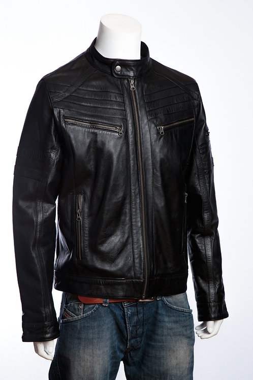 Racer Black Nappa Mens Leather Jacket