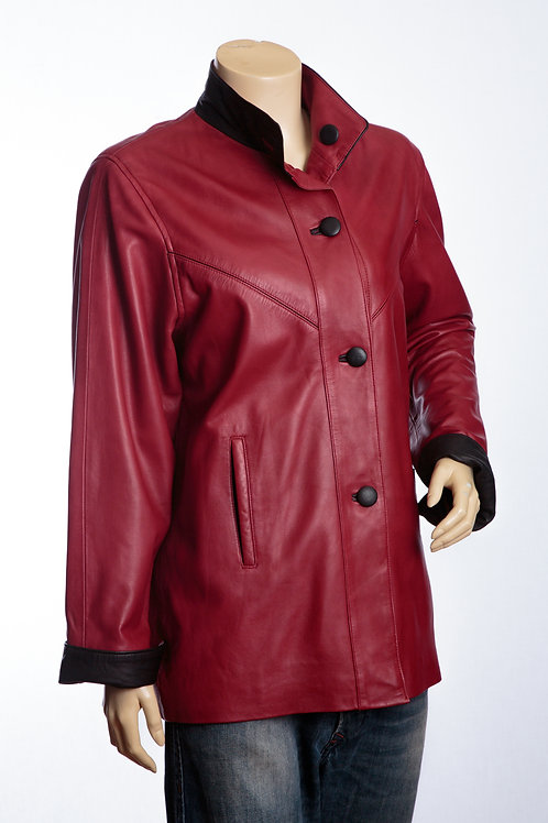 Maggie Ladies Red and Black Three Quarter Length Leather Coat