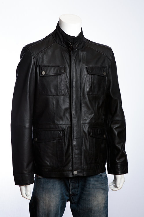 Ralph Mens Black Leather Jacket