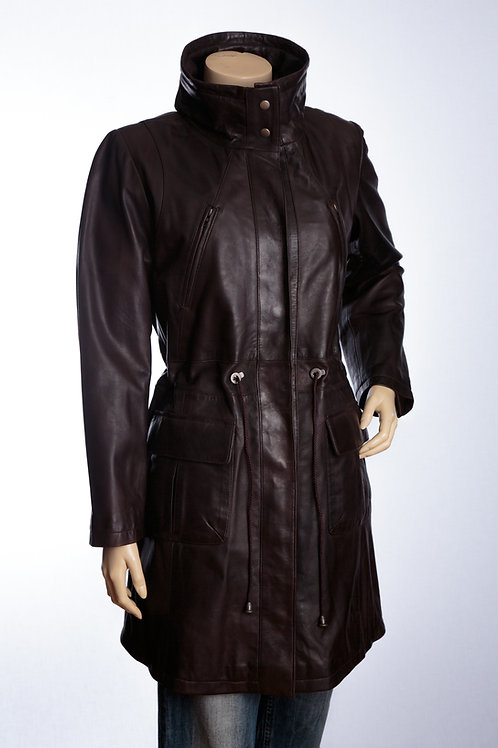 Ladies Brown Parker Leather Jacket