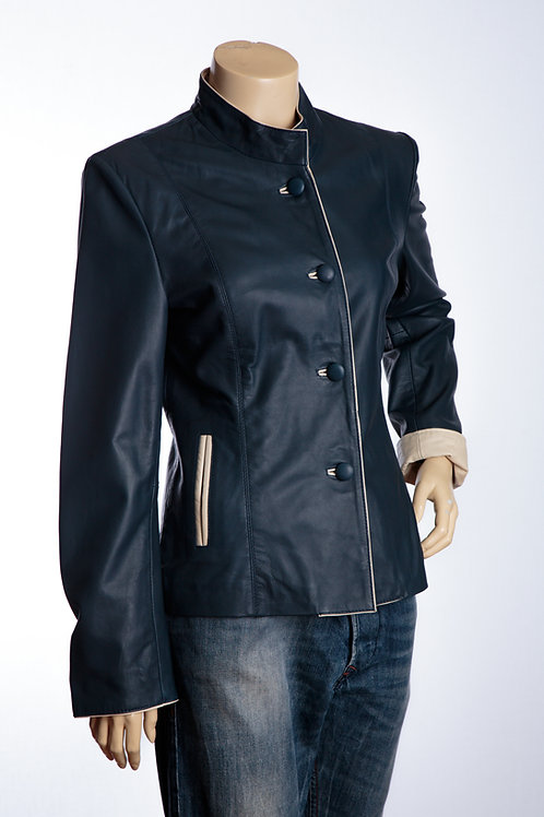 Jan Navy and Cream Ladies Leather Jacket