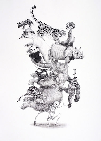 Animal tower, drawing, human responsibility, endangered animals