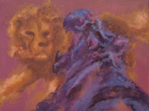 Fight (Lion and Hippo) Painting