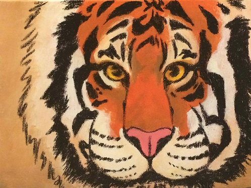 Tiger Close-up Painting