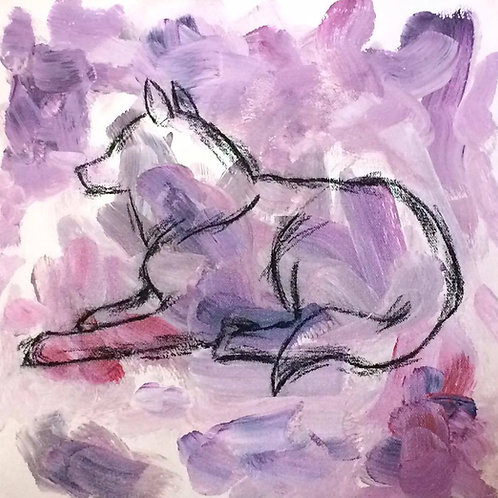Injured Purple Wolf Painting