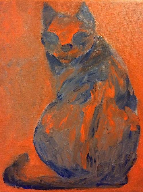 Fingerpaint Cat Painting