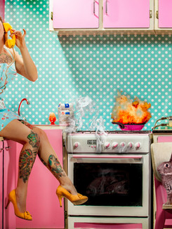 Pascale dans sa cuisine