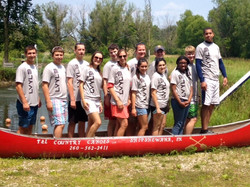 Leevy Lab Canoe Trip with New Shirts