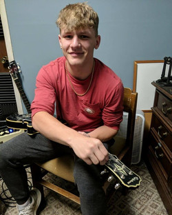 Student Tyler Bean At His Guitar Lesson