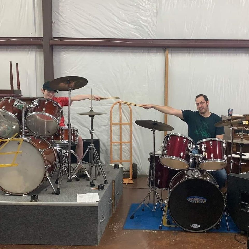 Student Bert Rowan At His Drum Lesson To