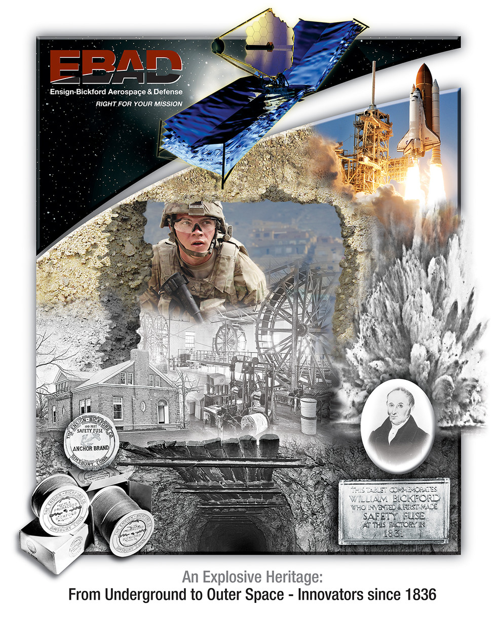 Ensign Bickford Aerospace & Defense (EBAD), CT - Then & Now Poster