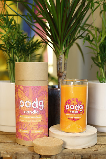 Mandarin & Sandalwood - Large cork padg candle